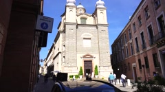 Church panoramic in town Stock Footage