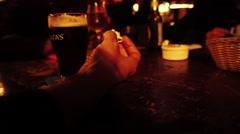 Fist floor of scene in pub Stock Footage