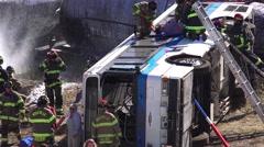 EMERGENCY CRASH RESCUE TEAM, MOCK DISASTER , - stock footage