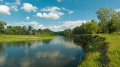 Summer nature river timelapse with sky and clouds motion - stock footage
