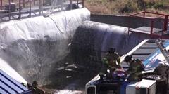 FIRE FOAM ON TANKER TRAIN, MOCK DISASTER , Stock Footage