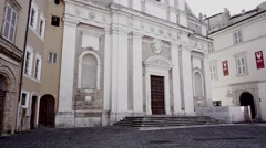 Panoramic church in town small moving camera Stock Footage