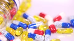 Drugs and supplement pills, medical concept - stock footage