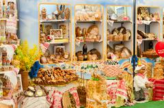 Demonstration stand with bakery products Stock Photos
