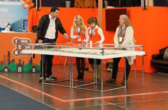 Demonstration stand of Gomelstroykompleks at International exhibition - stock photo