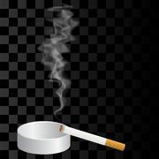 Burning Cigarette and Ashtray Isolated Stock Illustration
