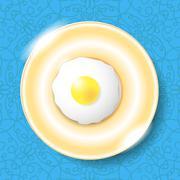 Fried Egg Icon Isolated on Blue - stock illustration