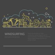 Linear concept windsurfing - stock illustration