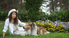 Collie DogIn The Park Stock Footage