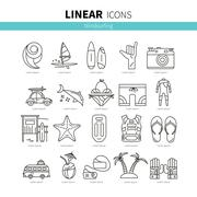 Set of linear icons windsurfing - stock illustration