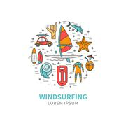 Windsurfing icons in the form circle Stock Illustration