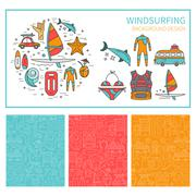 Vector set of icons windsurfing and seamless pattern - stock illustration