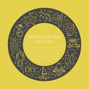 Windsurfing icon set in circle Stock Illustration