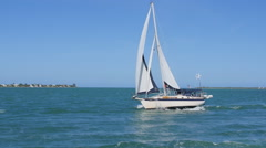 SAILBOAT IN THE TROPICS - stock footage