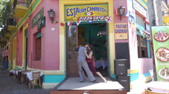Buenos Aires, tango dancers on the Caminito, La Boca district, Argentina - stock footage