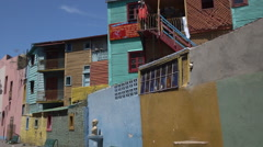 Buenos Aires, colorful buildings on the Caminito, La Boca district, Argentina - stock footage