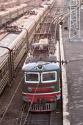 Novosibirsk railway station in twilight. Russia - stock photo
