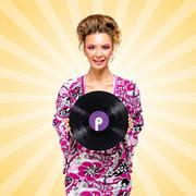 Violet vinyl. Stock Photos