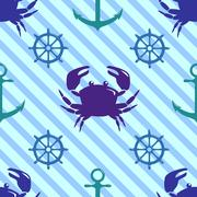 Seamless pattern with crab, steering wheel and anchor - stock illustration