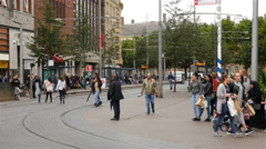 People in Downtown Den Hague - The Hague Netherlands Stock Footage