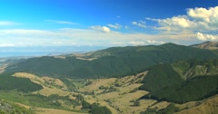 Pan across New Zealand landscape towards Abel Tasman, Nelson and Motueka Stock Footage