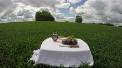 Artistic country landscape with items on table, time lapse 4K Arkistovideo