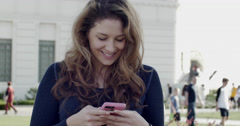 Girl Texting in public - stock footage