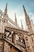 Milan Cathedral roof gallery. Flamboyant style of late Gothic architecture Stock Photos