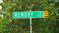 Memory Lane Road Sign Stock Footage