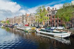 Amstel canal, Amsterdam Stock Photos
