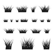 Grass bushes set - stock illustration