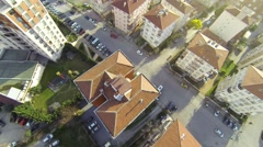 City top down view. Aerial video of rooftops. Fly over shot from multicopter cam Stock Footage