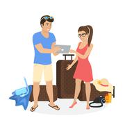Young couple standing near luggage and using tablet pc to watch photos from Stock Illustration