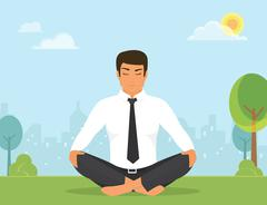 Man is doing yoga and sitting in the lotus position in the park - stock illustration