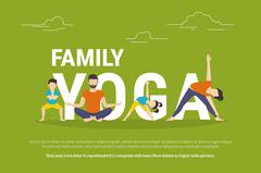 Concept illustration of family with kids doing yoga - stock illustration