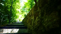 Anonymous Out-focus SteadyCam Walking up stairs Step Footpath - stock footage