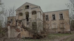 facade with the staircase of the old dilapidated estates of t - stock footage