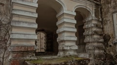 arched entrance to an old dilapidated estate of the Russian nobility in Russia - stock footage