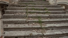 Stairs in the old dilapidated mansion of the Russian nobility in Russia Stock Footage