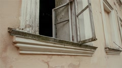 Window in an old  mansion of the Russian nobility in the depths of Russia Stock Footage