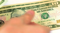 Close up of dollar banknotes counting - stock footage