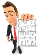 3d businessman holding house plan - stock illustration