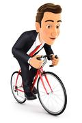 3d businessman riding a bike Stock Illustration