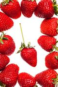 Ripe red strawberries with stems and leaves isolated on white background Stock Photos