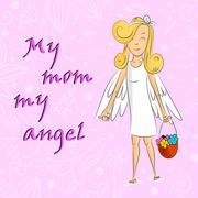 Angel Girl With Basket Of Flowers My Mom Angel - stock illustration