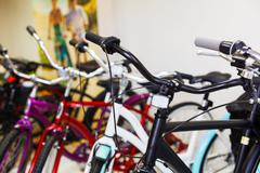 Sportive mountain bike row in the store - stock photo