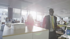 4K Diverse business group working together in large modern city office - stock footage