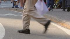 Crowd of People Walking on New York City Street Corner Stock Footage