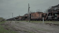 old abandoned  train cars and locomotives are not on the go - stock footage