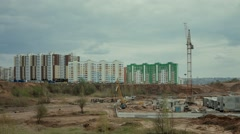 Construction of new homes in Russia on the outskirts of the city Stock Footage